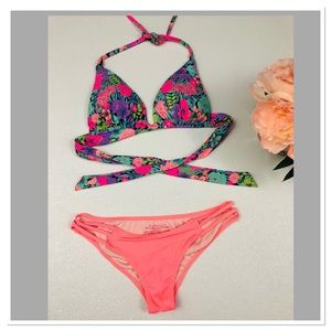 Victoria's Secret floral fixed triangle bikini set